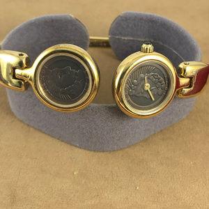 Fendi Accessories - Fendi 1925 Roma Coin Watch Cuff Bracelet 18K GP